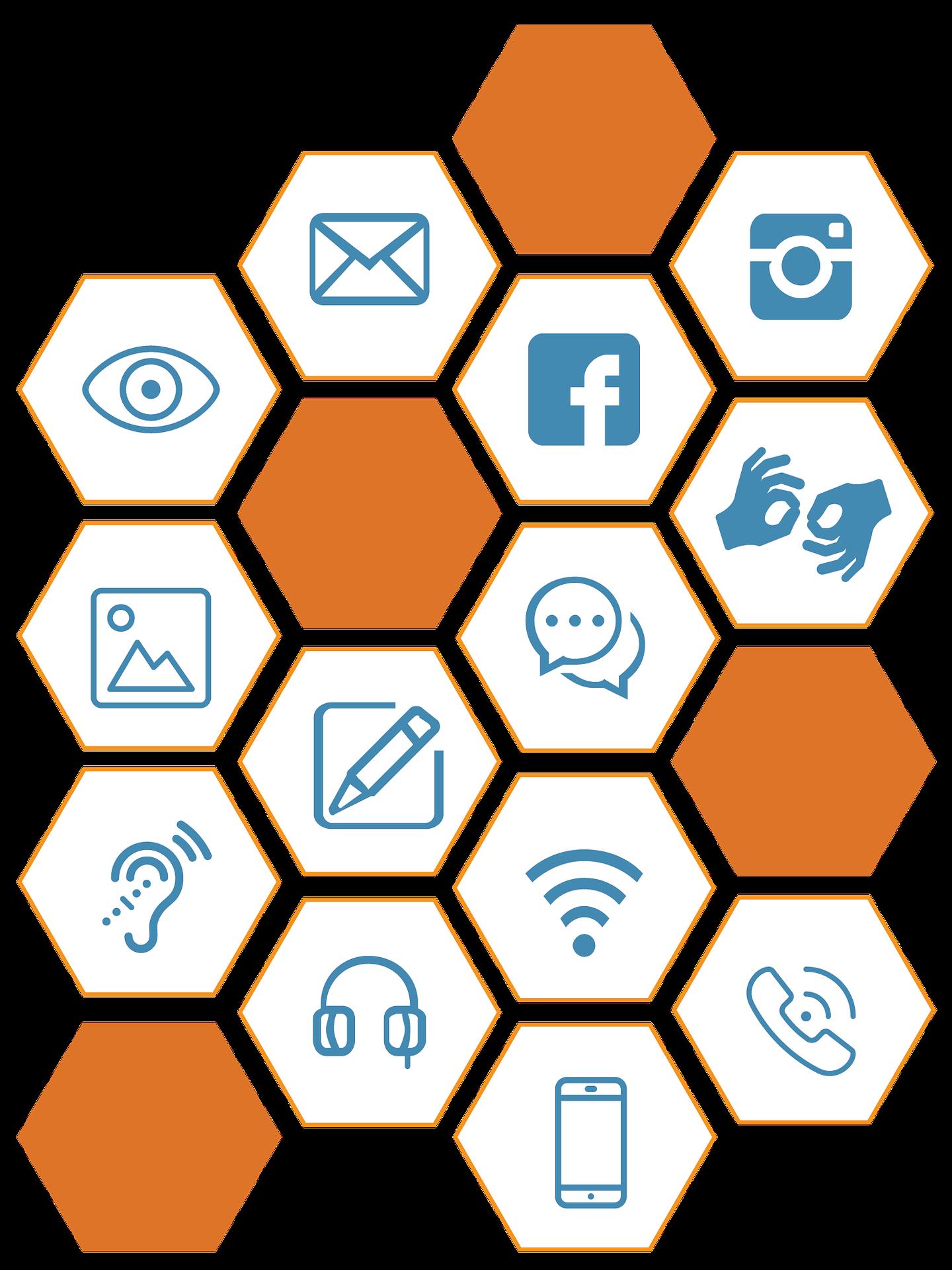 Ein Mosaik aus verschiedenen Symbolen. Abgebildet sind folgende Symbole (von links oben nach rechts unten): Brief, Instagram, Sehen, Facebook, Gebärdensprache. Foto, Sprechblasen, Schreiben, Hören, WLAN, Kopfhörer, Telefon und Handy